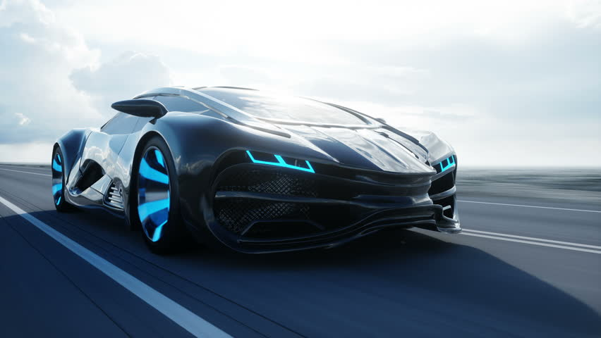 Black futuristic electric car on highway in desert. Very fast driving. Concept of future. Loopable. footage. Realistic 4k animation. | Shutterstock HD Video #1007422636