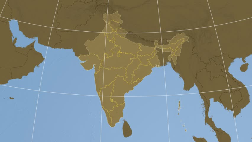 Gujarat extruded on the elevation map of India with administrative borders. Elevation data on solid colors used. Elements of this image furnished by NASA.