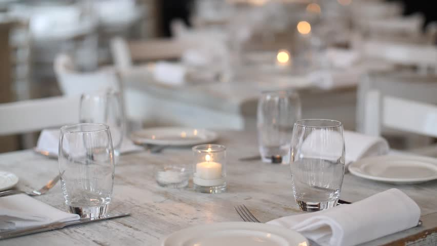 Restaurant Banquet Table Set Up Served Dinner Cutlery Tableware And ...