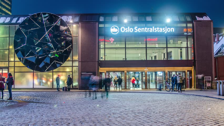 Oslo, Norway -January 30, 2018: Central Station Night Timelapse