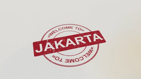 WELCOME TO JAKARTA wooden stamp animation. Alpha matte for easy background change