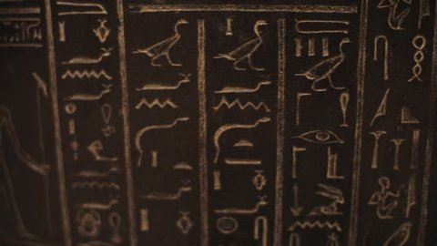 Close up shot hieroglyphics on wall