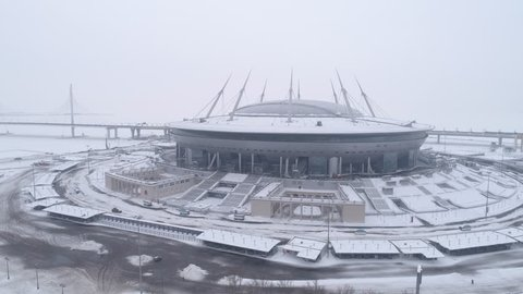 Aerial video of Saint Petersburg stadium, also called Zenit Arena, FIFA Confederations Cup 2017, 2018 FIFA World Cup, Russia, Saint Petersburg, February 11, 2018