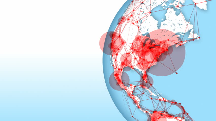 Connections form world network. Loops: 0:00-42:00, 10:15-31:15, 35:00-end. Globe on right with copy space. Point size represents city population. Global communication, internet, social media, tech. | Shutterstock HD Video #1007480998