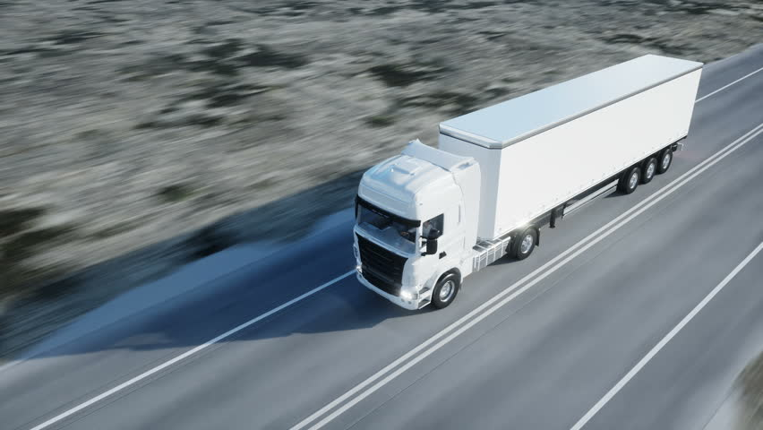 white truck. semi trailer on the road, highway. Transports, logistics concept. 4K realistic loopable animation.