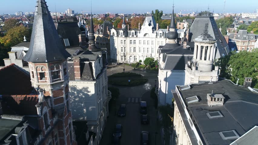 Aerial of Cogels-Osylei neighborhood located in Zurenborg an area in south-east Antwerp largely developed between 1894 and 1906 that features high concentration of townhouses in Art Nouveau styles 4k