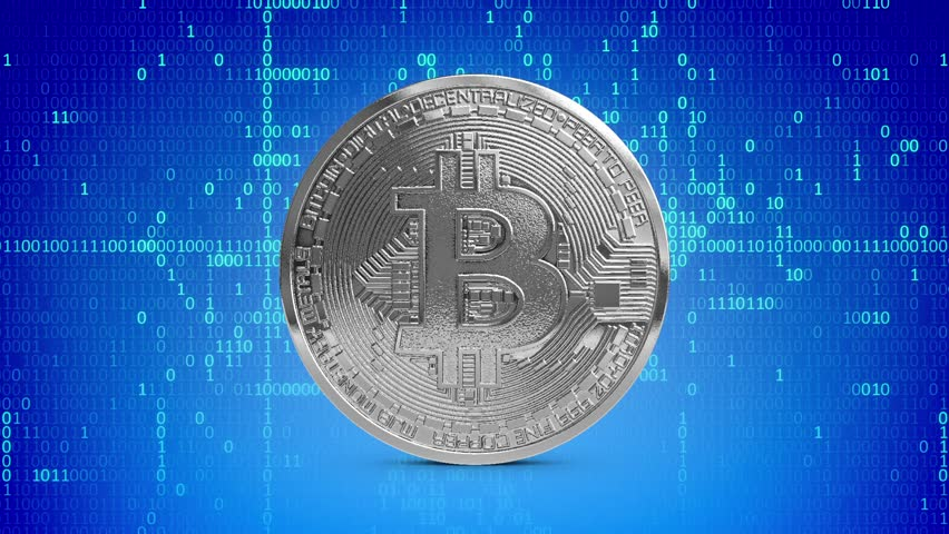 Platinum Bitcoin Coin rotating Loop Digital Money Binary Numbers 3D Renderings Animations   Shutterstock HD Video #1007537593