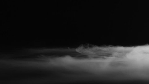 Dry Ice Fog Passes Right to Left Across Dark Background 60fps Slow Motion