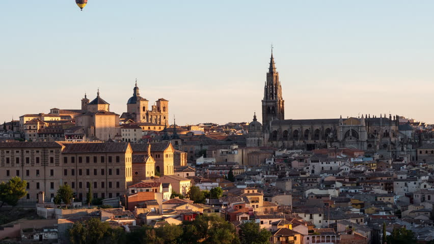 Time lapse of the Toledo old town cityscape at the Alcazar, Spain.