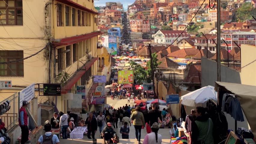 Street scene in Antananarivo, Madagascar, circa June 2017
