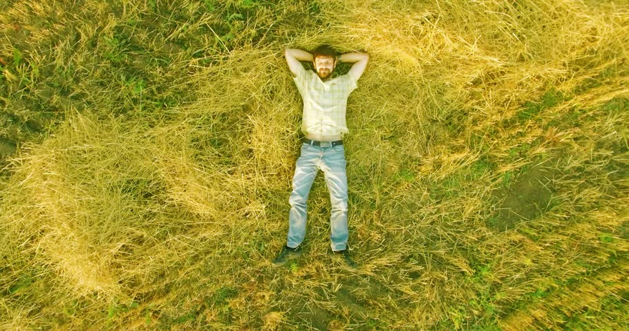 Vertical motion flight over formalwear man lying on yellow wheat field at sunny summer day. Top view on handsome relaxing man. | Shutterstock HD Video #1007638036