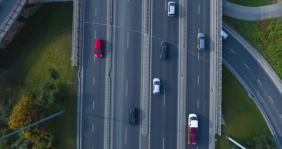 Overhead Drone Shot Of Highway