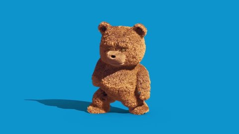 Teddy Bear Real Fur Dance Blue Screen Loop 3D Renderings Animations
