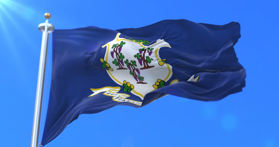 Flag of Connecticut state, region of the United States, waving at wind - loop