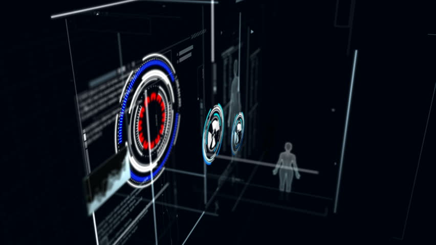 4K 3D Animation of user interface HUD moving on dark background for cyber futuristic concept with grain processed | Shutterstock HD Video #1007708026