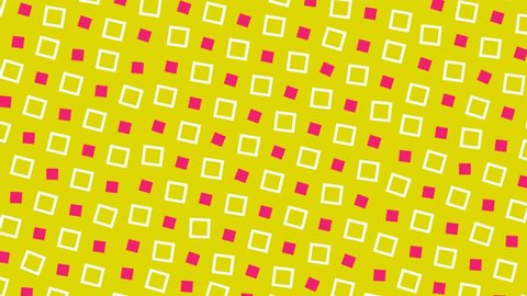 Retro Pop-Art 80's Memphis style pattern animation. Red and white squares on yellow background. Stop-frame video loop-ready clip.
