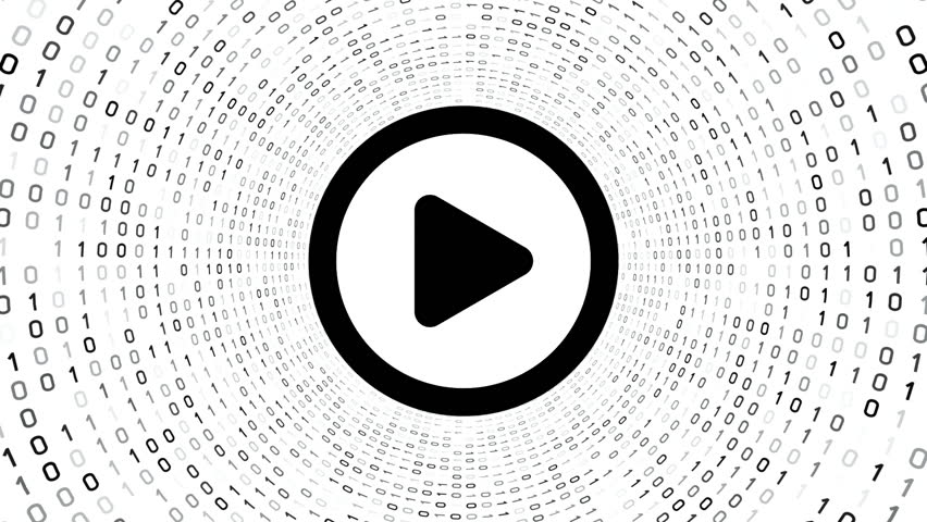 Black video play button form black binary tunnel on white background. Seamless loop. | Shutterstock HD Video #1007728276