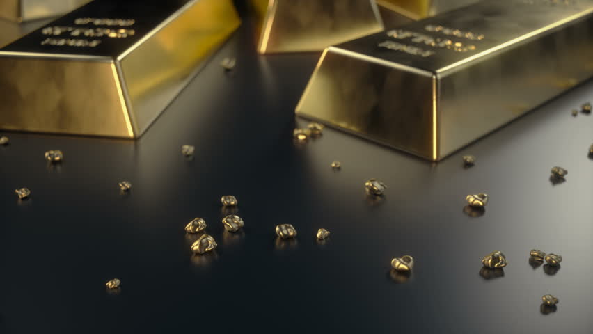 Fine Gold bars 1000 grams on the floor with scattered pieces of gold. Concept of wealth | Shutterstock HD Video #1007768476