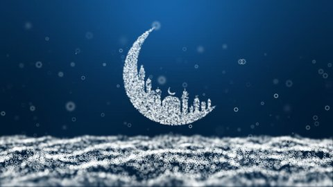 Animation, motion abstract background, Moon Mosque Sighting Announcement Ramadan kareem Mubarak and eight star particle blue Background.
