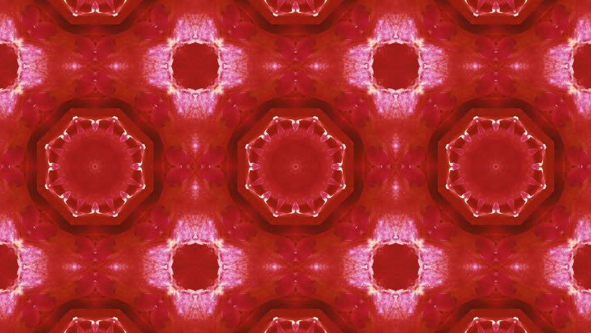 Flower ancient geometric graphic patterns in pink and red colors on red background. 4K Seamless loops pattern.