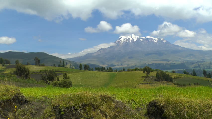 Chimborazo is a currently inactive stratovolcano in the Cordillera Occidental range of the Andes. Its last known eruption is believed to have occurred around 550 C.E.   | Shutterstock HD Video #1007848726