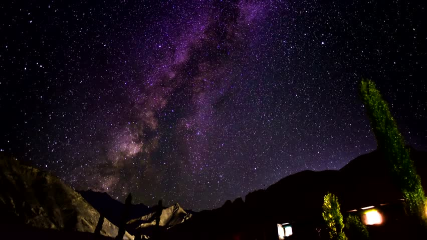 4k Timelapse video of  very beautiful million stars night milky way  with mountain background from Moonland Leh Ladakh , India | Shutterstock HD Video #1007851276