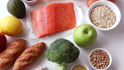 Balanced diet. Healthy food concept. Ingredients for cooking.Top view