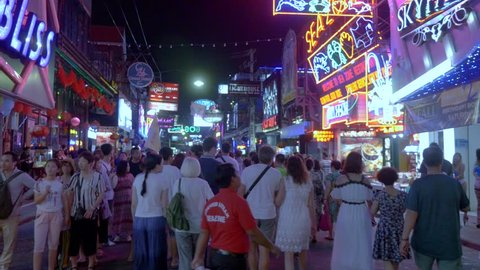 Pattaya / Thailand - Feb 22 2018 : The street is a tourist attraction which draws foreigners and Thai nationals, primarily for its night life. The Walking Street area includes go-go bars, nightclubs.