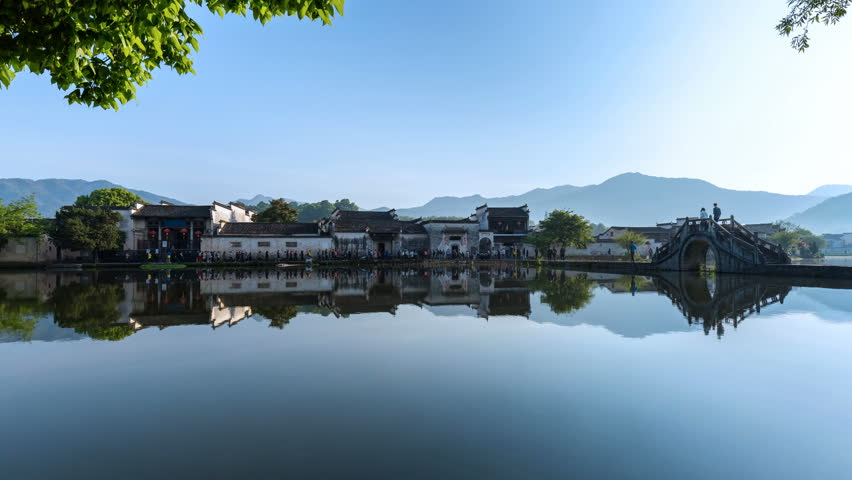 time lapse of beautiful china ancient villages ,hongcun in morning,packed with tourists