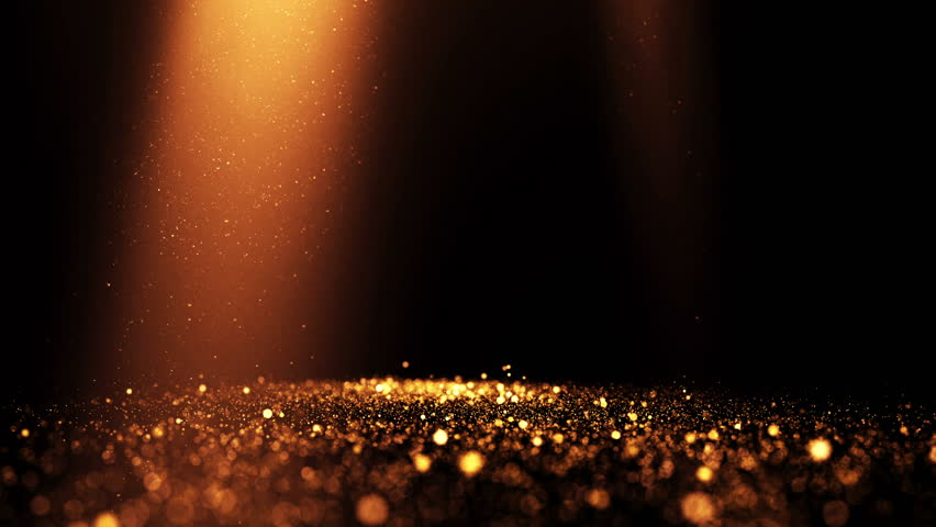 Glittering golden particles with light rays. 4K UHD seamless loop video.