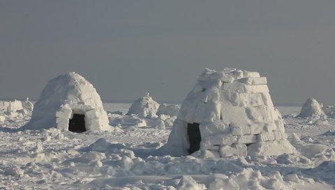 Winter dwelling of Eskimos. Igloo. Eskimos village.
