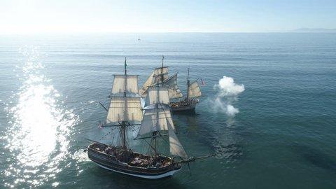 Tall Ship battle  reenactment on the high seas