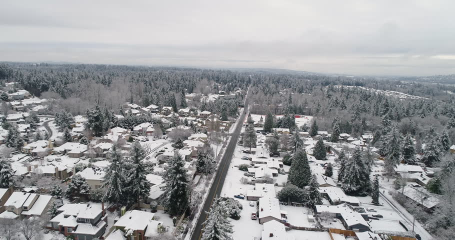 Aerial View Newcastle Renton Washington Snow Covered City Winter Landscape