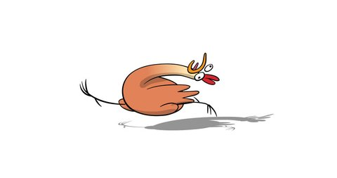 Rustic running crazy chicken. Classic Animation of cartoon character. Alpha-channel without shadow.