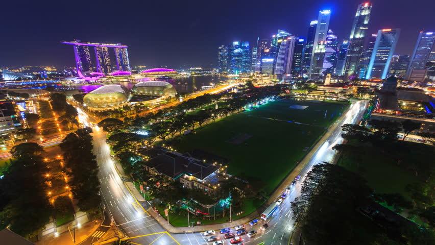 Beautiful Aerial Night Cityscape Of Singapore 4K Time Lapse
