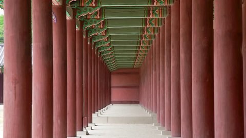 Vanishing point view of a red porch in Jongmyo Shrine.  Seoul, Korea.