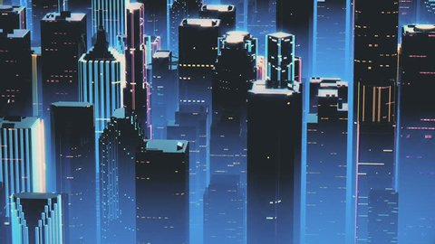 Flying above skyscraper roofs in large city, synthwave style, 3D animation.  Neon illumination in megalopolis