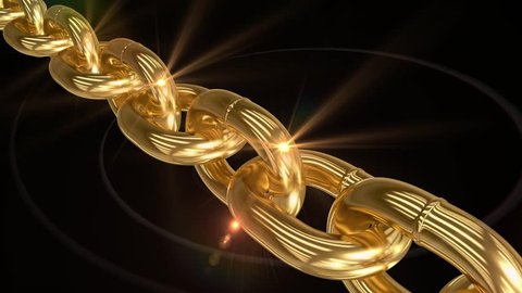 Moving Sparkling Shiny Gold Chain. Seamless Video. 3D Rendering.