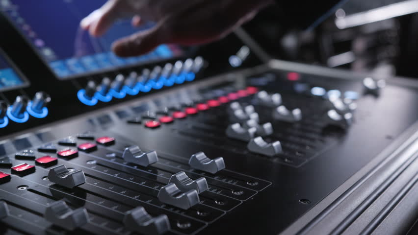 Electric machine on table for working of sound designer or club dj at party in nightclub. Occupation for modern lifestyle, objects for listen at background. Musical player for tuning of stage close up | Shutterstock HD Video #1008058396