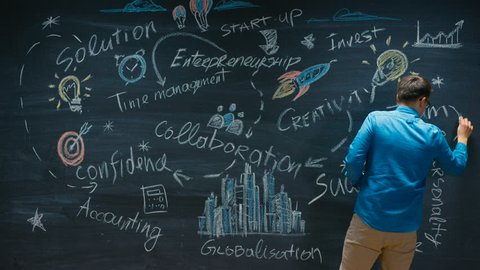 Time-Lapse/ Stop Motion of the Young Man Drawing on Blackboard Inspirational Keywords for Business Start-up. Colorful Drawings with Bits of Wisdom. Shot on RED EPIC-W 8K Helium Cinema Camera.
