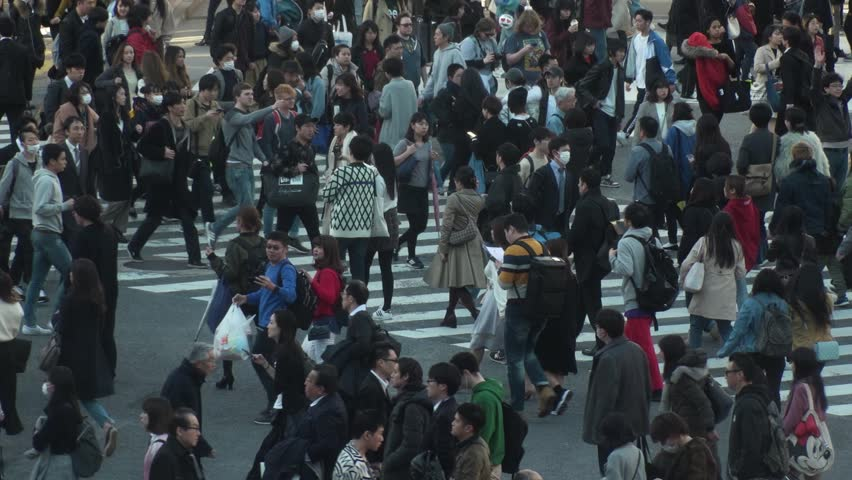 SHIBUYA,  TOKYO,  JAPAN - CIRCA FEBRUARY 2018 : Scenery of SHIBUYA around big scramble crossing in slow motion. #1008066376