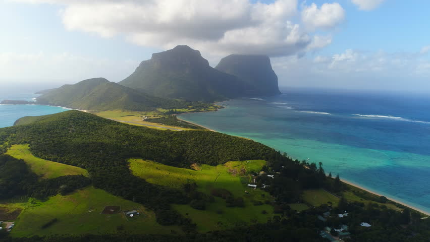 Aerial view of Lord Howe Island (World Heritage-listed paradise), main lagoon and Mount Gower on background - New South Wales - Tasman Sea - Australia from above #1008067186
