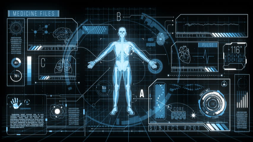 Futuristic HUD Medicine Screen Data, 4K