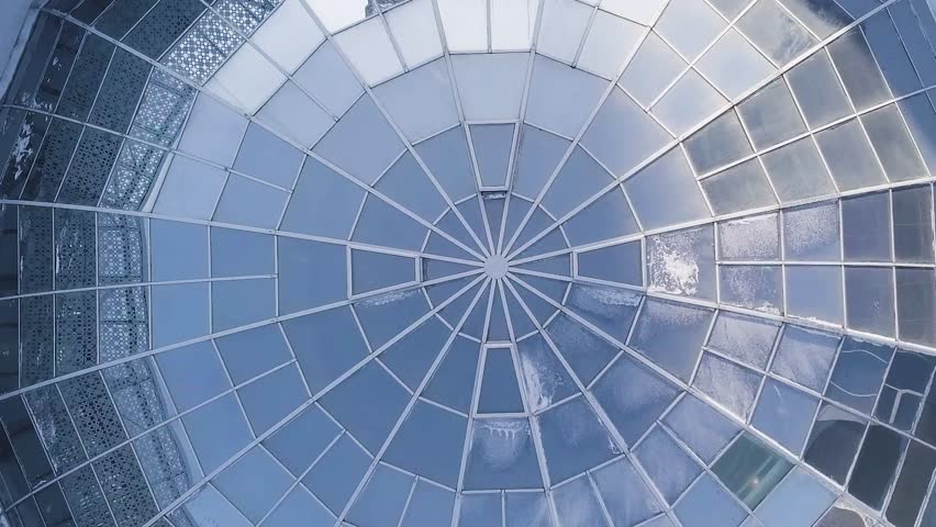 Aerial view on Modern glass building dome. glass dome background.