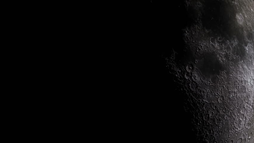 Stockfootage of Moon in Space - Zoomed in Footage of Moon reflecting Sunshine. Moonrise and Moonfall frome close up. Shining Moon Surface in Space. | Shutterstock HD Video #1008093136