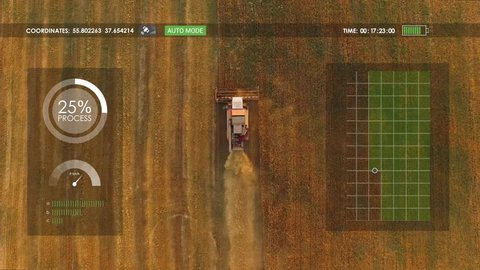 Electric combine, harvester removes oats, hud, view from height, motion graphics elements.