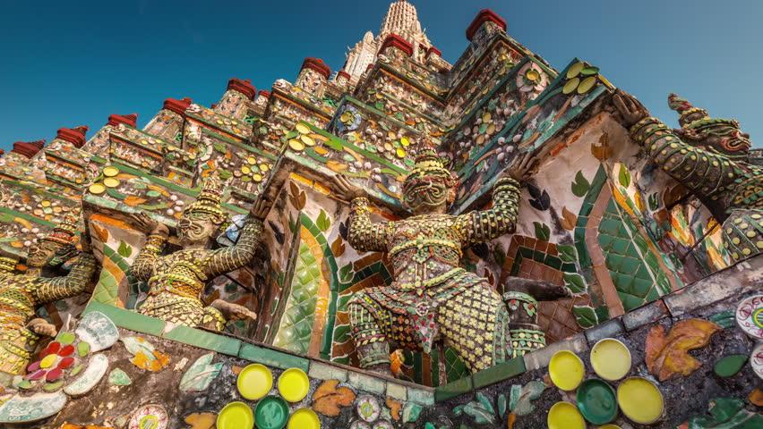 colored details of bangkok famous temple decoration 4k time lapse thailand