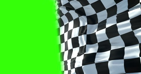 checkered flag, end race background, formula one competition waving with chroma key green screen