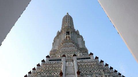 gimbal 4k shot, Prang in Wat Arun Ratchawararam,Temple of Dawn, Bangkok skyline, Bangkok, Thailand