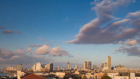 Day to Night Timelapse transition of Tel Aviv city, Israel from Jaffa.